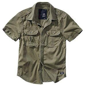 Brandit Vintage Chemise à Manches Longues Et à Manches Courtes, Tailles S À 7XL Olive Manches Courtes, 4XL - Publicité