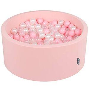 KiddyMoon 90X40cm/300 Balles  7Cm Piscine  Balles pour Bébé Rond Fabriqué en UE, Rose:Rose Poudré/Perle/Transparent - Publicité