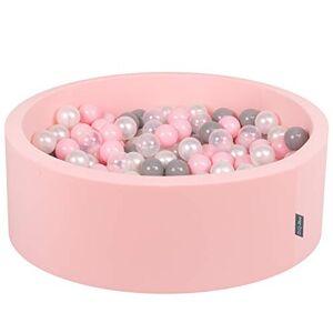 KiddyMoon 90X30cm/200 Balles  7Cm Piscine  Balles pour Bébé Rond Fabriqué en UE, Rose: Perle-Gris-Transparent-Rose Poudré - Publicité