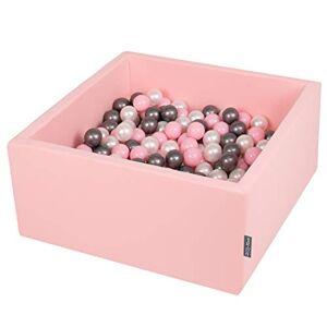 KiddyMoon 90X40cm/300 Balles  7Cm Carré Piscine  Balles pour Bébé Fabriqué en UE, Rose : Perle/Rose Poudré/Argenté - Publicité