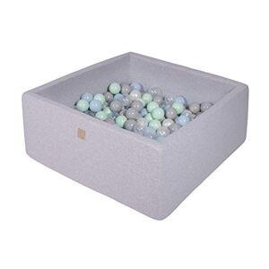 MEOWBABY Piscine  Balles 90X90X40cm/200 Balles  7Cm Carré Bébé Enfant Rond Fabriqué en UE Quadratique Gris Clair: Blanc Perle/Gris/Transparent/Menthe/Bleu Bébé - Publicité