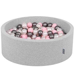 KiddyMoon 90X30cm/300 Balles  7Cm Piscine  Balles pour Bébé Rond Fabriqué en UE, Gris Clair: Perle-Rose Poudré-Argenté - Publicité