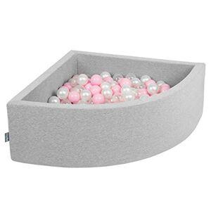 KiddyMoon 90X30cm/200 Balles Piscine  Balles  7Cm pour Bébé Quart Angulaire Fabriqué en UE, Gris Clair: Rose Poudré-Perle-Transparent - Publicité