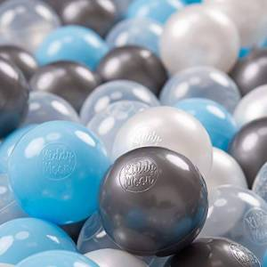 KiddyMoon 100  7Cm Balles Colorées Plastique pour Piscine Enfant Bébé Fabriqué en EU, Transparent/Argenté/Perle/Baby Blue - Publicité