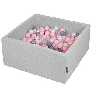 KiddyMoon 90X40cm/300 Balles  7Cm Carré Piscine  Balles pour Bébé Fabriqué en UE, Gris Clair: Perle/Gris/Transparent/Rose Poudré - Publicité