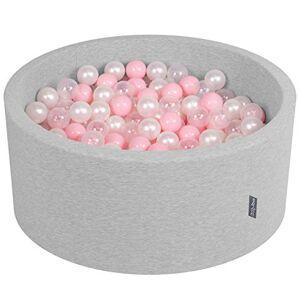 KiddyMoon 90X40cm/300 Balles  7Cm Piscine  Balles pour Bébé Rond Fabriqué en UE, Gris Clair:Rose Poudré/Perle/Transparent - Publicité