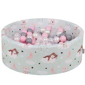 KiddyMoon Piscine  Balles 90X30cm/300 Balles  7Cm pour Bébé Rond Fabriqué en UE, Ours Dormant-Vert: Perle-Gris-Transpt-Rose Poudré - Publicité