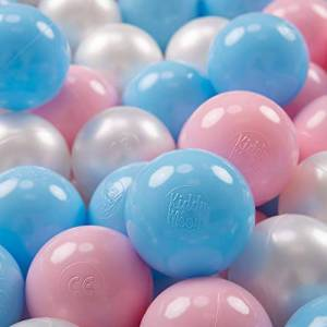 KiddyMoon 100  7Cm Balles Colorées Plastique pour Piscine Enfant Bébé Fabriqué en EU, Baby Blue/Rose Poudré/Perle - Publicité