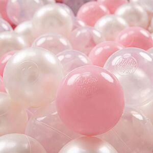 KiddyMoon 200  7Cm Balles Colorées Plastique pour Piscine Enfant Bébé Fabriqué en EU, Rose Poudré/Perle/Transparent - Publicité