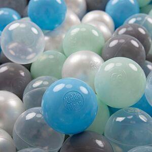 KiddyMoon 100  7Cm Balles Colorées Plastique pour Piscine Enfant Bébé Fabriqué en EU, Perle/Gris/Transparent/Baby Blue/Menthe - Publicité