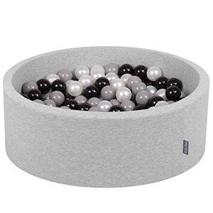 KiddyMoon 90X30cm/200 Balles  7Cm Piscine  Balles pour Bébé Rond Fabriqué en UE, Gris Clair:Noir/Gris/Perle - Publicité