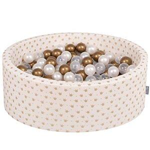 KiddyMoon 90X30cm/200 Balles  7Cm Piscine  Balles pour Bébé Rond Fabriqué en UE, Or-Ecru:Or/Transparent/Perle - Publicité