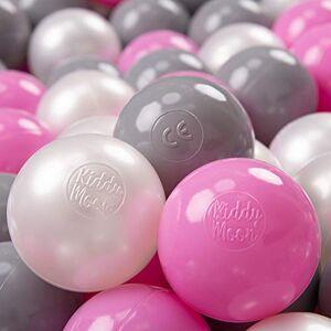 KiddyMoon 100  7Cm Balles Colorées Plastique pour Piscine Enfant Bébé Fabriqué en EU, Perle/Gris/Rose - Publicité