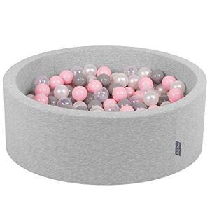 KiddyMoon 90X30cm/300 Balles  7Cm Piscine  Balles pour Bébé Rond Fabriqué en UE, Gris Clair: Perle-Gris-Transparent-Rose Poudré - Publicité