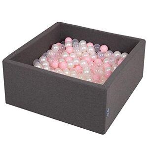 KiddyMoon 90X40cm/300 Balles  7Cm Carré Piscine  Balles pour Bébé Fabriqué en UE, Gris Foncé:Rose Poudre/Perle/Transparent - Publicité