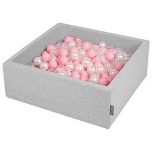 KiddyMoon 90X30cm/200 Balles  7Cm Carré Piscine  Balles pour Bébé Fabriqué en UE, Gris Clair: Rose Poudré/Perle/Transparent - Publicité