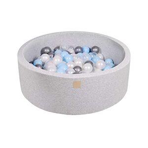MEOWBABY Piscine  Balles 90X30cm/200 Balles  7Cm pour Bébé Enfant Rond Fabriqué en UE Gris Clair: Argent/Bleu Bébé/Perle Blanche/Transparent - Publicité