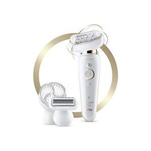 Braun Silk-épil 9 Flex SES 9030 3D pilateur pour femme à tête flexible pour une épilation plus facile Blanc/Or - Publicité
