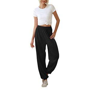 Furpazven Pantalon de Jogging Femme Pantalons de Survêtement ete Sport Running Taille Elastique Fitness Training Coton avec Poches Black S