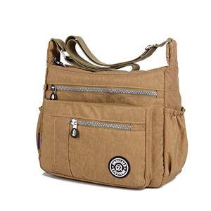Popoti Sac  Bandoulire Femme, Popoti Sacs  Main Nylon Messager Crossbody Bag Fourre-Tout Sac Multi-Poches Grande Voyage Scolaire Shopping (Beige) - Publicité