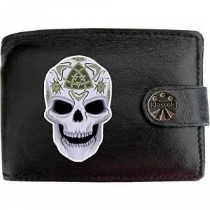 Klassek Skull Celtic Death Paen Celt Druide Mort Klassek Portefeuille Homme Vrai Cuir Noir RFID Blocage Poche  Monnaie avec Bote en Métal - Publicité