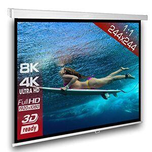 Alphavision*Business cran de projection manuel 244 x 244 cm SlenderLine Plus, Format 1:1 FULL-HD 3D 4K 8K, cran de projection manuel pour vidéoprojecteur, Home Cinema, pour Mur ou Plafond, Version 2018 - Publicité