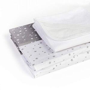 Lilly Belly Lot de 2 draps-housse+1 alse 50x83 imperméable OEKO TEX 100% coton compatible berceau cododo Next2me, Lullago, Safety first (Etoiles gris/blanc) - Publicité