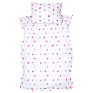 zieba Parure de lit bébé design: astérisque Grand Parure de lit Parure de lit pour enfant Rose 100x 135cm (40x 60cm) - Publicité