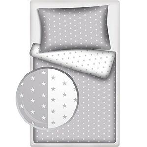 Glocal Berlin Parure de lit bébé 2 pices Blanc/gris/motif étoiles Taille 100x 135cm/40x 60cm - Publicité