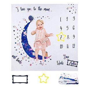 ANSUG Couverture mensuelle pour bébé,  120 x 120cm Milestone Couverture in Flanelle fond super doux pour nouveau-né Accessoires Photographie avec Cadre Baby Shower Cadeau - Publicité