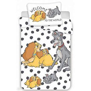 KiGATEX Parure de lit pour enfant Disney III 2 pices 100 % coton 40 x 60 cm + 100 x 135 cm avec fermeture clair (Lady and the Tramp) - Publicité