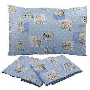 BABABU' Mafada Taie d'oreiller pour lit bébé 40 x 60 cm  Toile imprimée  Couleurs : rose/bleu/vert/motif ours  Fabriqué en Italie (bleu) - Publicité