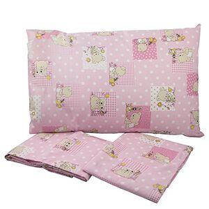 BABABU' Mafada Taie d'oreiller pour lit bébé 40 x 60 cm  Toile imprimée  Couleurs : rose/bleu/vert/motif ours  Fabriqué en Italie (Rose) - Publicité