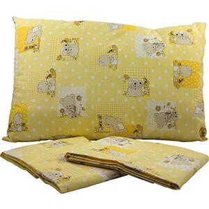BABABU' Mafada Taie d'oreiller pour lit bébé 40 x 60 cm  Toile imprimée  Couleurs : rose/bleu/vert motifs ourson  Fabriqué en Italie (jaune) - Publicité