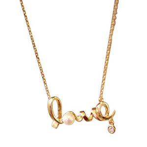 Nobrand Mode Amour Lettre Collier Faux Perle Strass Pendentif Décoration Placage Collier pour la Saint-Valentin Collier Cadeau - Publicité