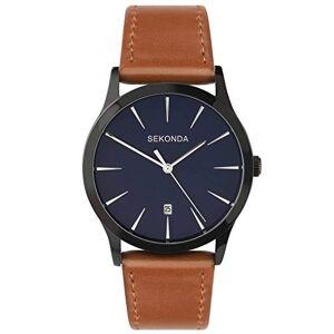 Sekonda Montre  quartz pour homme analogique avec cadran bleu et bracelet cuir marron - Publicité