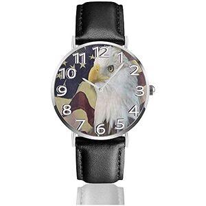 Rea-Shop Aigle  tte Blanche Drapeau américain en Cuir Montre Mode Montres-Bracelets Montre  Quartz Porter Montres Cadeau - Publicité