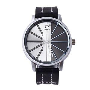 Souarts Homme Montre Bracelet Quartz Analog Cadran Rond Cuir Artificielle (Noir) - Publicité
