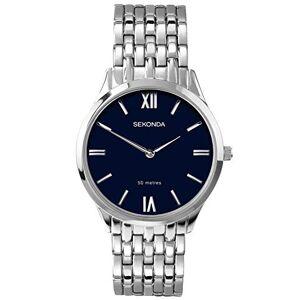 Sekonda Montre  quartz pour homme avec cadran bleu, affichage analogique et bracelet en acier inoxydable - Publicité