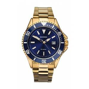 Sekonda Montre  quartz pour homme avec cadran bleu, affichage analogique et bracelet plaqué or, modle - Publicité