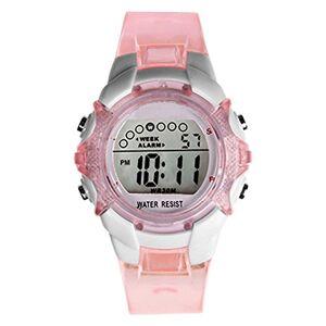 HONHX Montre  quartz numérique étanche pour fille avec affichage de la date et alarme, rose - Publicité
