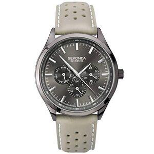 Sekonda  Montre multifonction pour homme avec cadran gris et bracelet en cuir - Publicité