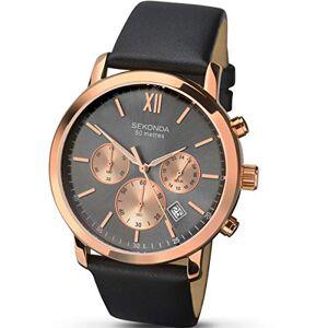 Sekonda  Montre pour homme avec bracelet en cuir noir et botier en or rose - Publicité