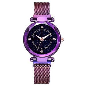 Waymeduo Convient pour Dames et Filles Casual Fashion Watch Quartz Watch Starry Sky Quartz Wrist Women's Watch Bracelet en Pierre d'aspiration en Fer 1pc Ladies Watch (Purple) Purple - Publicité