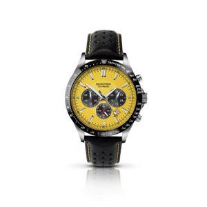 SEKONDA  Montre Homme Quartz Chronographe Bracelet Cuir Noir - Publicité