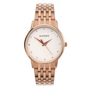 Sekonda Montre  quartz analogique pour femme avec bracelet en or rose et cadran blanc - Publicité