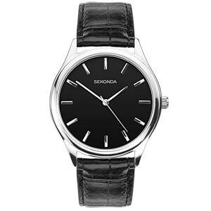 Sekonda Montre-bracelet analogique pour homme en cuir noir, cadran noir - Publicité