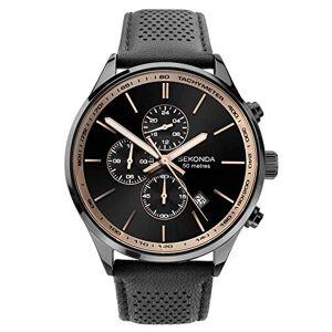 Sekonda  Montre chronographe pour homme avec cadran noir et bracelet en cuir - Publicité