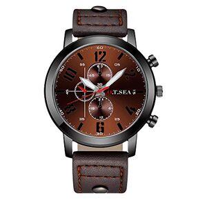 Souarts Homme Montre Bracelet Quartz Analog Cadran Rond Sangle en Cuir PU Brun 25.5cm - Publicité