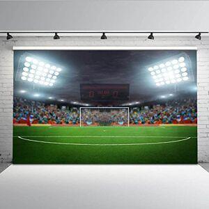 Mehofoto 3x 2,1m Football Champ Toile de fond Compteur de score Goal spot Réconfortants Public pliable lavable Photographie Props - Publicité